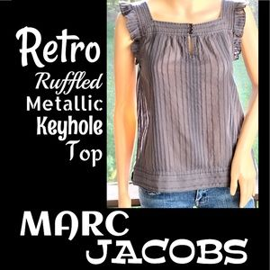 ▪️MARC JACOBS▪️Retro Metallic Keyhole Ruffle Top